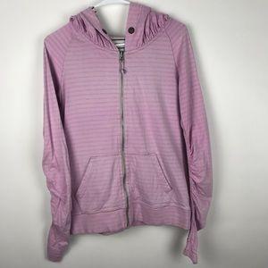 Lululemon Full Zip Up Striped Hooded Sweater Pink